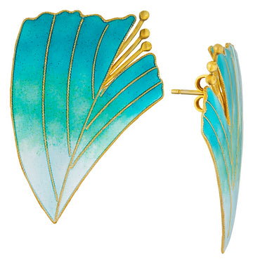 Vintage Laurel Inc Turquoise Magnolia Gold-Vermeil Earrings