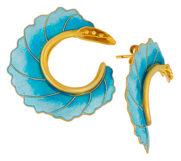 Vintage Laurel Inc Sky Blue Curled Flower Gold-Vermeil Earrings