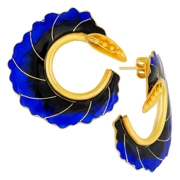Vintage Laurel Inc Blue Curled Flower Gold-Vermeil Earrings