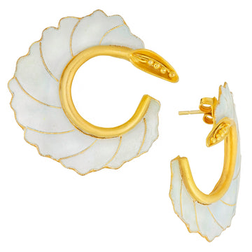 Vintage Laurel Inc White Curled Flower Gold-Vermeil Earrings
