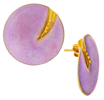 Vintage Laurel Inc Fuchsia Flower Gold-Vermeil Earrings