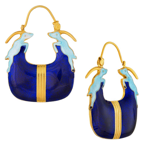 Vintage Laurel Burch Blue Antalope Gold-Vermeil Earrings