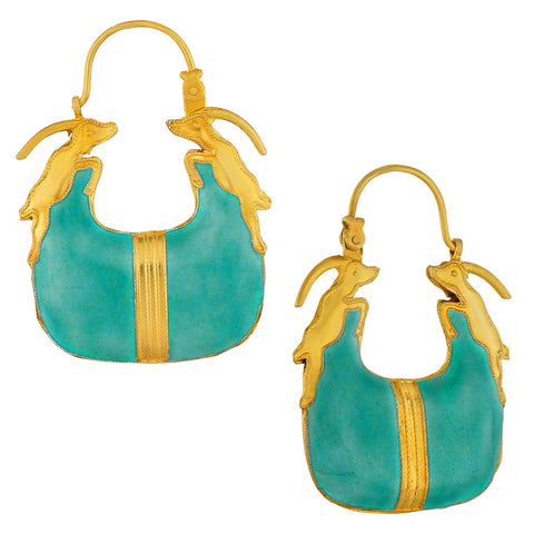 Vintage Laurel Inc Turquoise Antelope Gold-Vermeil Earrings