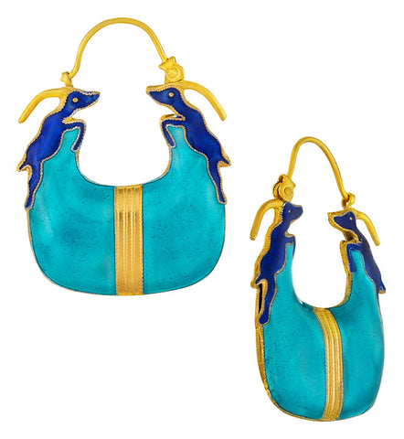 Vintage Laurel Inc Turquoise and Blue Antelope Gold-Vermeil Earrings