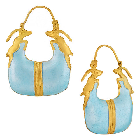 Vintage Laurel Inc Sky Blue Antelope Gold-Vermeil Earrings