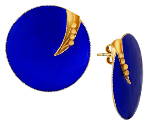 Vintage Laurel Inc Royal Blue Flower Gold-Vermeil Earrings