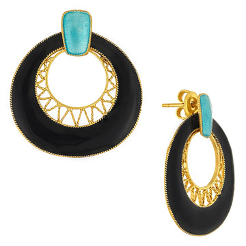 Vintage Laurel Inc Deco Crescent Black and Teal Gold-Vermeil Earrings