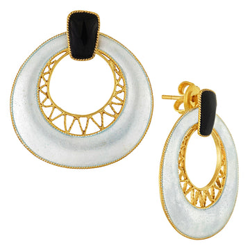 Vintage Laurel Inc Deco Crescent Tuxedo Gold-Vermeil Earrings