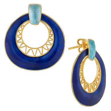 Vintage Laurel Inc Deco Crescent Blues Gold-Vermeil Earrings