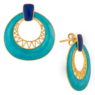 Vintage Laurel Inc Deco Crescent Turquoise Gold-Vermeil Earrings