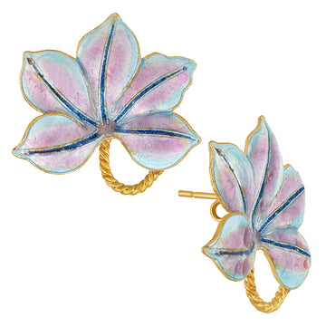 Vintage Laurel Inc Violet Buckeye Gold-Vermeil Earrings