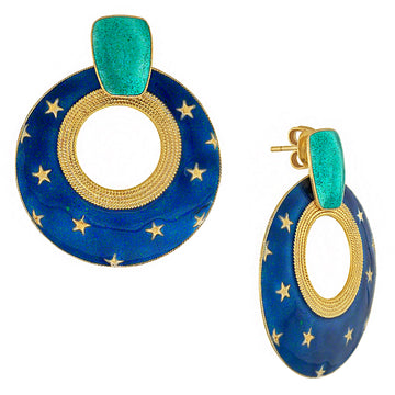 Vintage Laurel Inc Royal Blue Moonshine Gold-Vermeil Earrings
