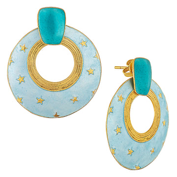 Vintage Laurel Inc Sky Blue Sunshine Gold-Vermeil Earrings