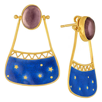 Vintage Laurel Inc Amethyst Blue Space Pocket Earrings