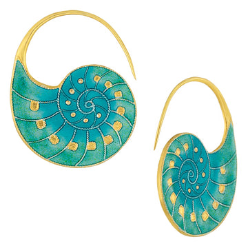 Vintage Laurel Inc Turquoise Nautilus Shell Gold-Vermeil Earrings