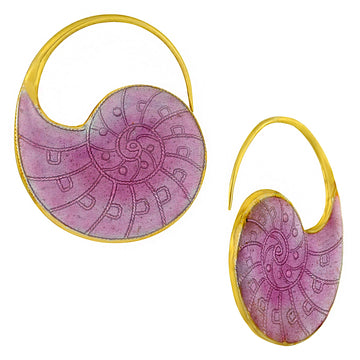 Vintage Laurel Inc Violet Nautilus Shell Gold-Vermeil Earrings