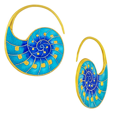 Vintage Laurel Inc Blue Nautilus Shell Gold-Vermeil Earrings