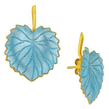 Vintage Laurel Inc Ice Blue Poplar Leaf Gold-Vermeil Earrings