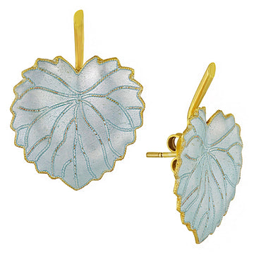 Vintage Laurel Inc White Poplar Leaf Gold-Vermeil Earrings