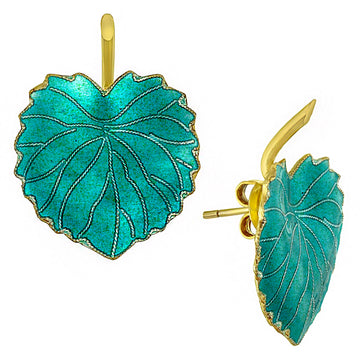 Vintage Laurel Inc Turquoise Poplar Leaf Gold-Vermeil Earrings