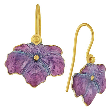 Vintage Laurel Inc Muave Wild-Flower Leaf Gold-Vermeil Earrings