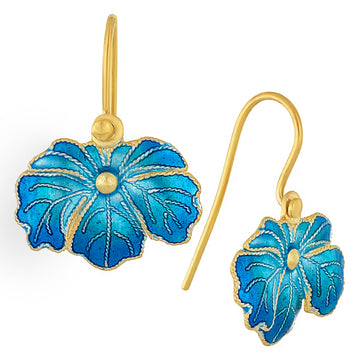 Vintage Laurel Inc Baby Blue Wild-Flower Leaf Gold-Vermeil Earrings