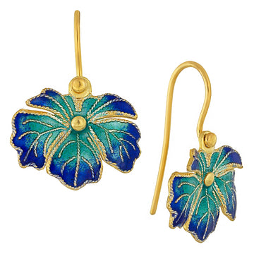 Vintage Laurel Inc Blue and Teal Wild-Flower Leaf Gold-Vermeil Earrings
