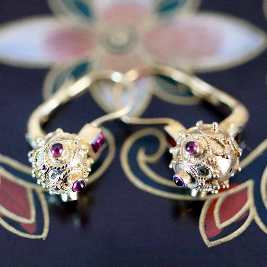 Timbuktu 14k Gold and Garnet Victorian Earrings