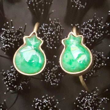 Antique Qing Dynasty Jade Pomegranate Earrings
