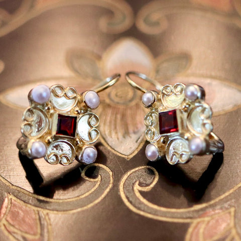 Elizabethan Earrings: Pearls, Garnet & 14k Gold