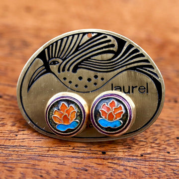 Vintage Laurel Burch Orange Lotus Gold-Vermeil Studs