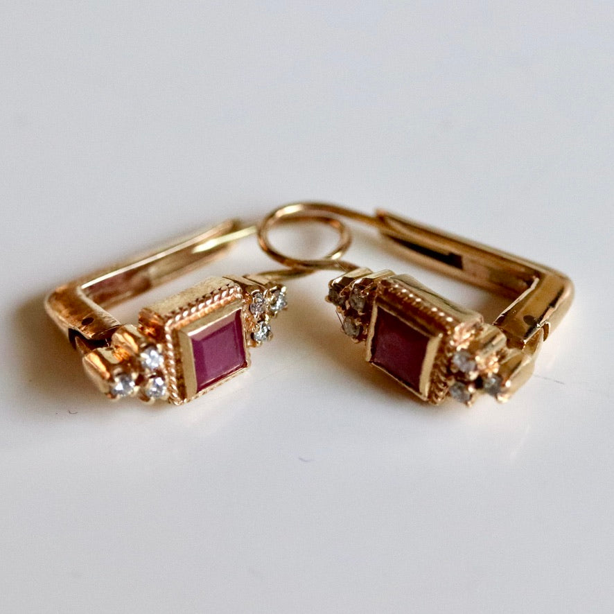 Dorothy 14k Gold, Ruby and Diamond Earrings