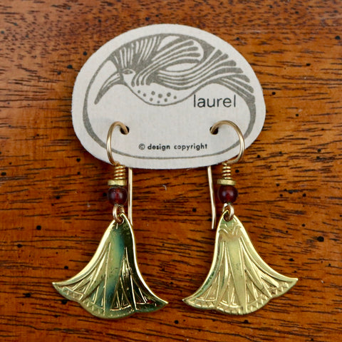Vintage Laurel Burch Small Papyrus Gold-Plate Earrings
