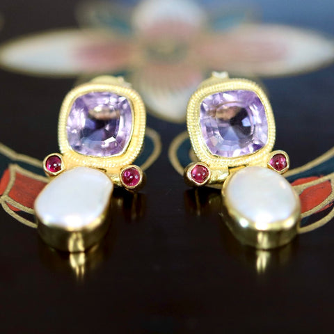 Arnsworth Castle Earrings: Amethyst, Pearl, Garnets and 14k Gold