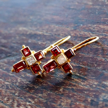 St. Albans Cross Garnet Earrings