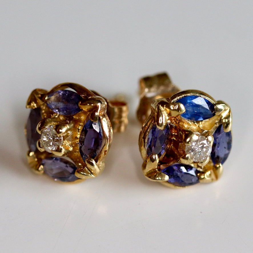 Milky Way 14k Gold, Diamond and Sapphire Studs