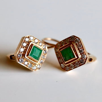 Goddess 14k Gold, Emerald and Diamond Earrings