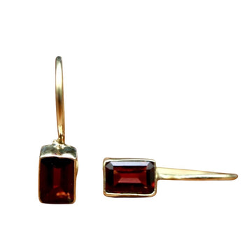 Contemporary Drop Garnet Earrings