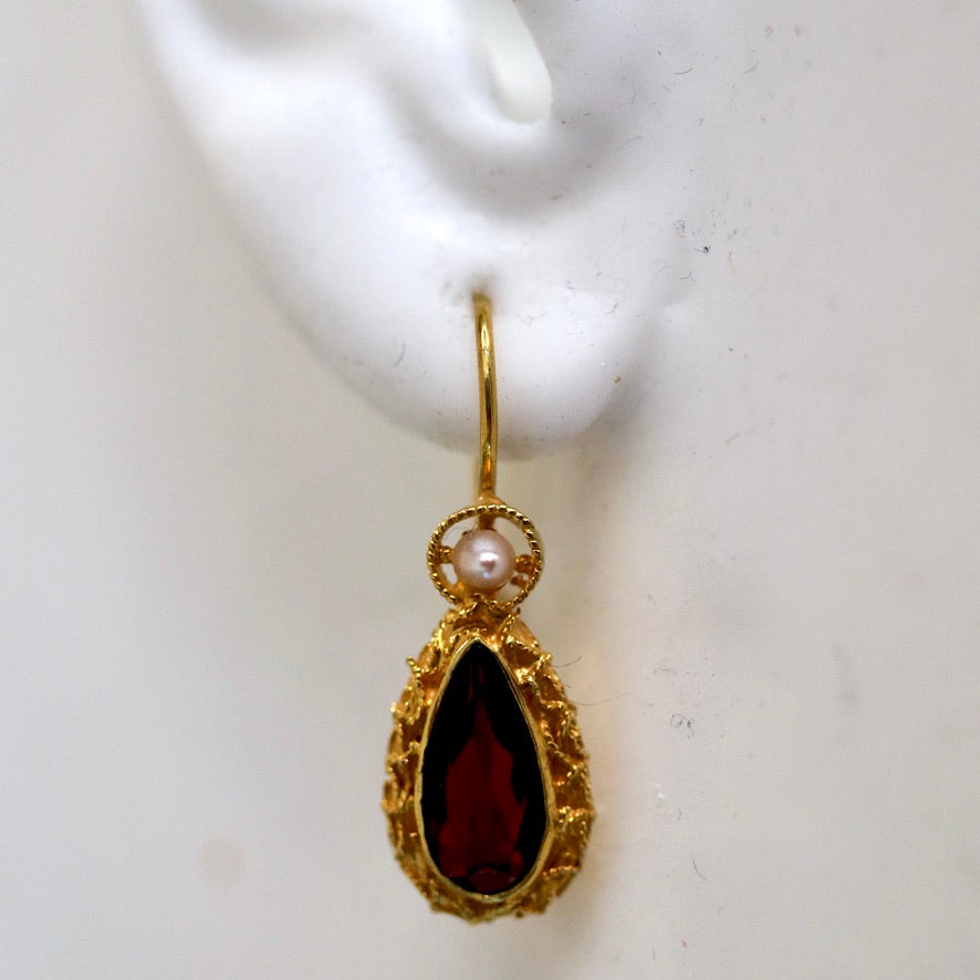 Coventry 14k Gold, Garnet and Pearl Earrings