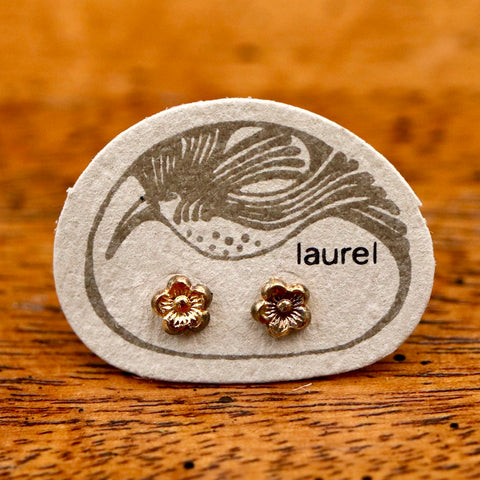 Vintage Laurel Burch Flower Gold-Plate Studs