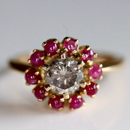 Daisy Buchanan Ring: Champagne Diamond, Rubies & 14k Gold
