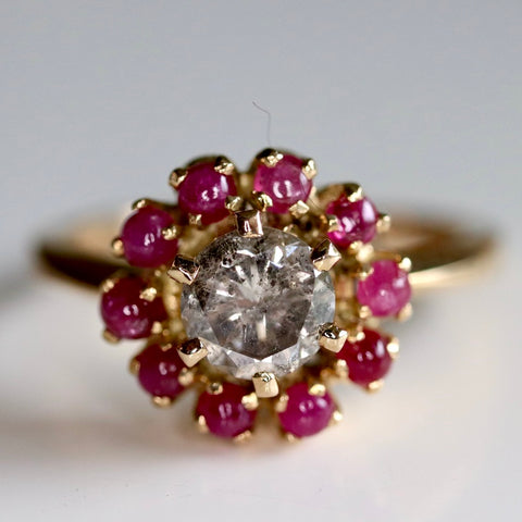 Daisy Buchanan Ring: Champagne Diamond, Rubies and 14k Gold