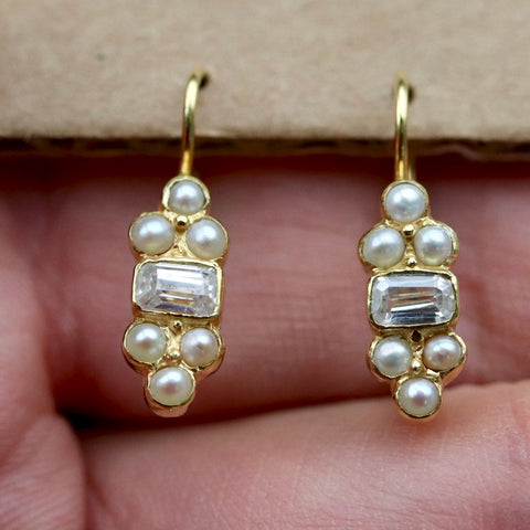 Highbury Earrings: Cubic Zirconia, Pearls and 14k Gold