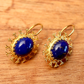 Lapis Lazuli Snowflake Earrings
