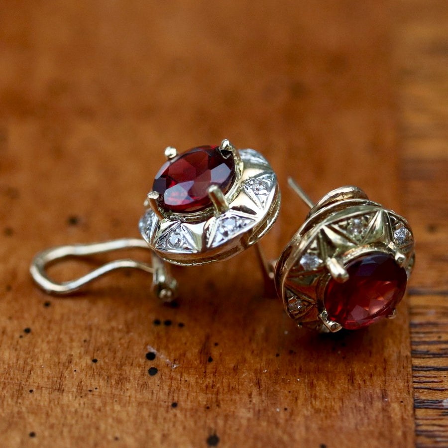 Swan Lake 14k Gold, Diamond and Garnet Earrings