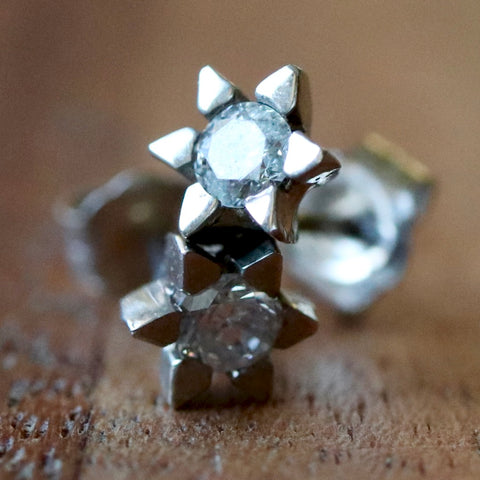 Starburst Diamond and White Gold Earrings