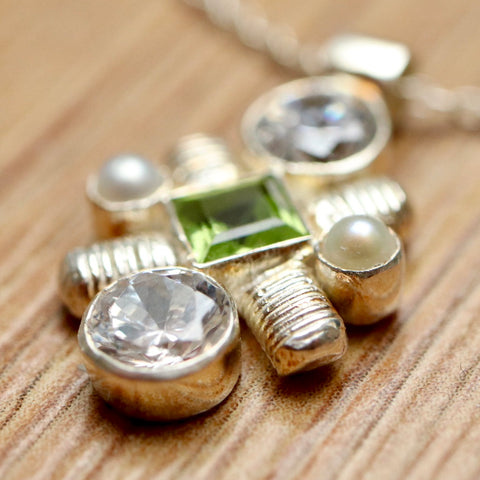 Jenny Lind Cubic Zirconia, Peridot & Pearl Silver Necklace
