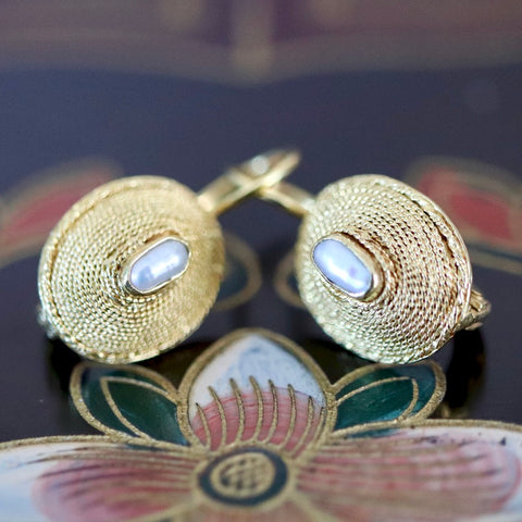 Empire Earrings: Pearl and 14k Gold
