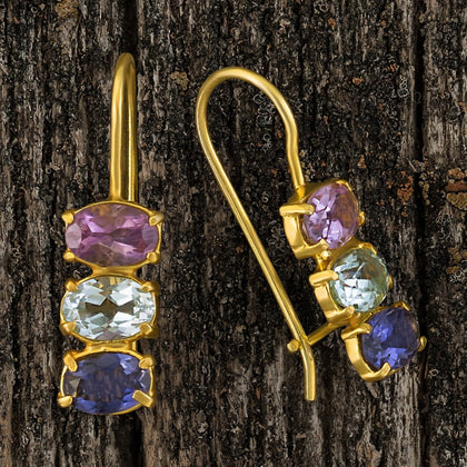 Diana Daring Amethyst, Topaz and Iolite Earrings