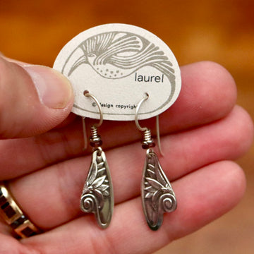 Vintage Laurel Burch Fairy Wing Silver-Plate Earrings